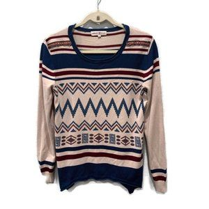 Altar'd State Tribal Print Scoop Neck Sweater Top